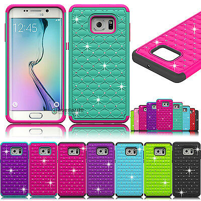Hybrid Rubber Bling Crystal Case Cover for Samsung Galaxy S6 edge plus / edge+