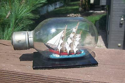 Miniature Antique Light Bulb Ship in Bottle Detailed Mint Condition Folk Art WOW