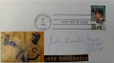 Johnny Vander Meer Pittsburgh Pirates Signed First Day Cover