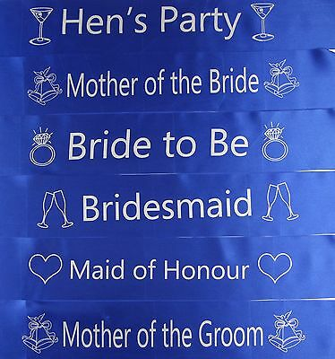Hens Night Bridal Sash Sashes Bride Bridesmaid Maid Of Honour * Blue & Silver *