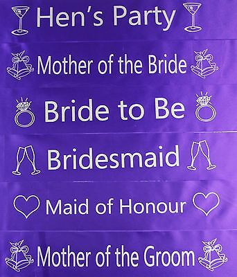 Hens Night Bridal Sash Sashes Bride Bridesmaid Maid Of Honour *purple & Silver *