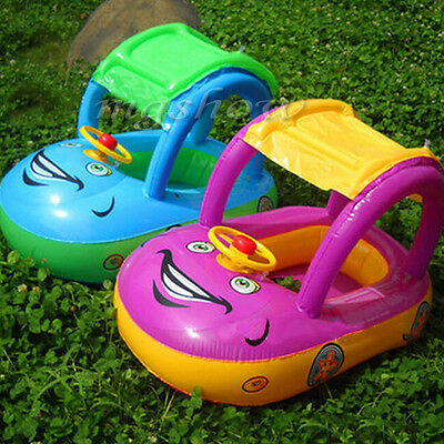 Kids Baby  Toddler Swimming Pool Swim Seat Float Boat Ring With Wheel and Horn