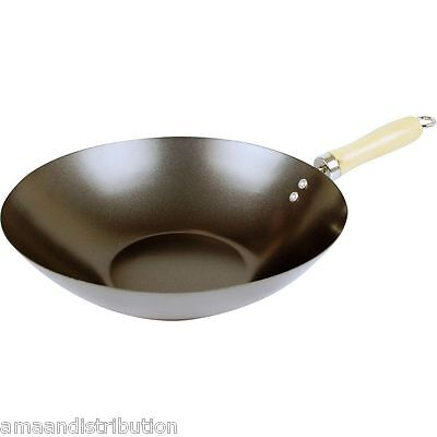 30Cm Non Stick Wok Fry Asian Frying Pan Handle Kitchen Pot Grill Cook