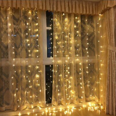 Warm White 6M*3M/600 LED 31V Safe Christmas Wedding Party Fairy Curtain Light