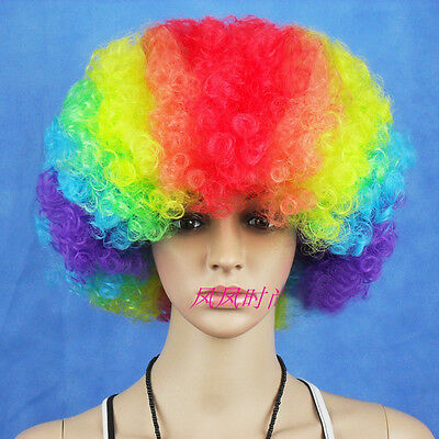 Unisex Funny Afro Curly Clown Joke Party 70s Disco Wig Wigs 7 Colors Cosplay