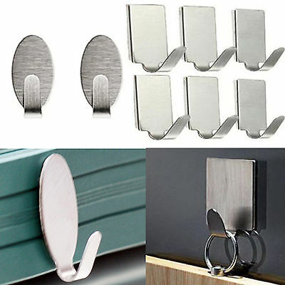 6 Stainless Steel Self Adhesive Stick Sticky On Door Wall Peg Hanger Holder Hook