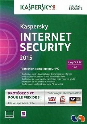 Kaspersky Internet Security 2015 - 1 an / 5 PC - Protection complète NEUF