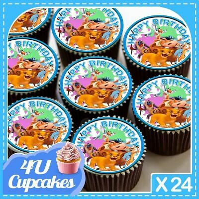 24 X Birthday Simba Lion King Blue Edible Cupcake Toppers Rice Paper Cc7034