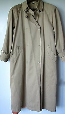 Evan Picone Trench Coat Medium Beige Khaki Double Breasted Removable Lining