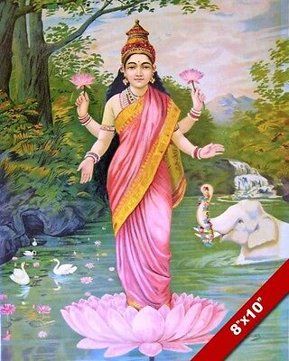 Lakshmi Hinduism Hindu Vishnu Goddess India Nepal Painting Art Real Canvas Print