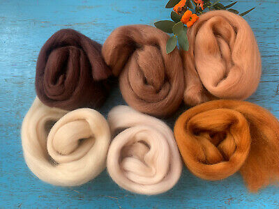 Heidifeathers Merino Wool Tops- 'Beautiful Browns' - Felting Wool