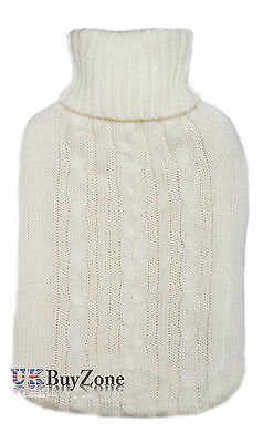 Large Full Size Rubber Hot Water Bottle With Knitted Jumper Cover