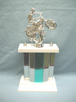 large silver motocross  trophy wide green and silver metal column show award