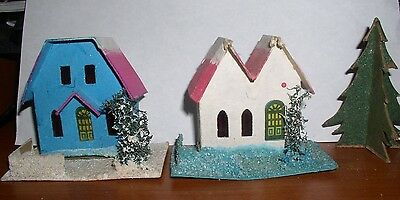 Vintage Christmas Putz Cardboard Houses Churchs Made In  Japan & Usa
