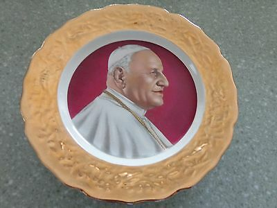"""Vintage Pope Paul 24 KT. Plate  9in.  by Crown-O- Gold  """" Mint """""""