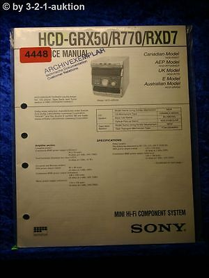 Sony Service Manual HCD GRX50 /R770 /RXD7 Component System (#4448)