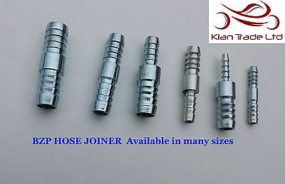 6 to 8,10,12mm BZP HOSE JOINER REDUCER BARBED PIPE CONNECTOR MENDERS WATER FUEL