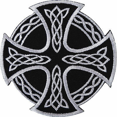 Celtic Maltese Knot Cross Embroidered Iron / Sew On Patch Shirt Jacket Bag Badge