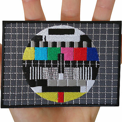 Big TV Test Card Embroidered Iron / Sew On Patch Large Embroidery Applique Badge