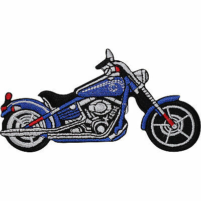 Blue Chopper Motorcycle Embroidered Iron / Sew On Patch Motorbike Jacket Badge