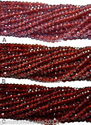 AAA+++ Natural Genuine Garnet Gemstone Rondelle Faceted Beads Strand Wholesale