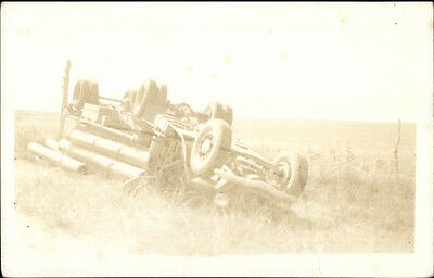 Old Truck Wreck Crash Side of Road Real Photo Postcard
