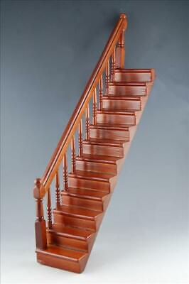 Treppe, Walnuss, Handlauf links, Puppenhaus Puppenstube 1:12