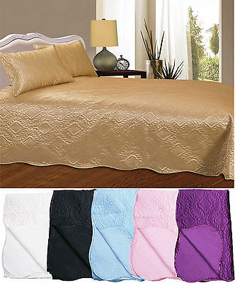 New Quilted Embossed Designer Bedspread Comforter Bedding All Sizes - 6 Colours