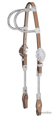 Silver Tube Show Headstall Bridle - Light Oil Leather - Double Ear