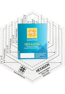 "EZ Quilt Hexagon Template, creates 1""-5"" hexagons for Patchwork and Scrapbooking"