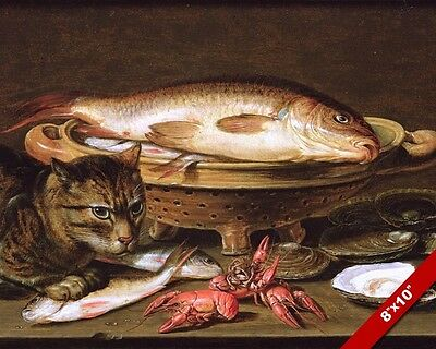 Carp Fish Oysters Crawfish Seafood & Cat Painting Food Art Real Canvas Print