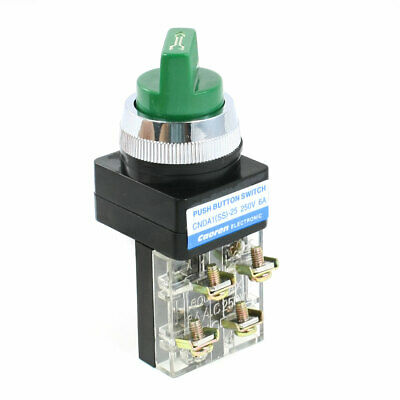 Panel Mounted 2 Position Selector Locking Green Rotary Switch 250VAC 6A 1NO 1NC