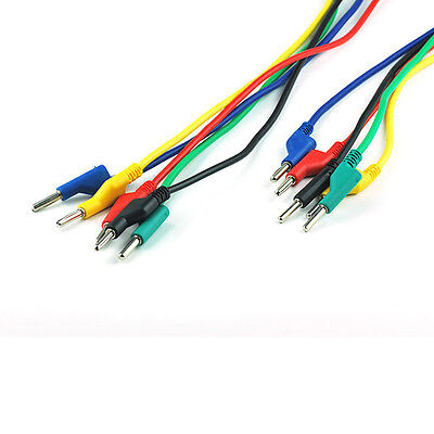 5pcs Silicone High Voltage Banana to Banana Plugs Test Probe Leads Cable 5 Color