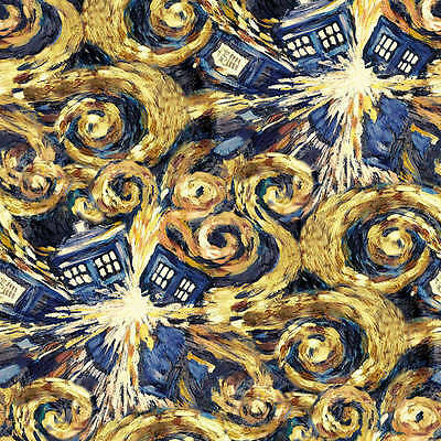 Dr Who Exploding Tardis Police Sci-Fi TV Series Licensed Fabric FQ or Metre NEW