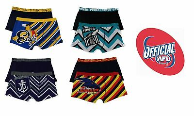 Boys Official Afl Underwear 2 Pack Trunks Shorts Eagles Dockers Power Crows
