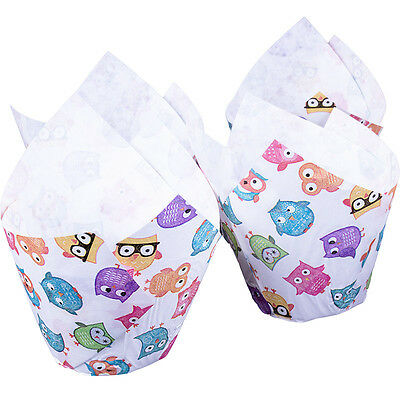 Owls Muffin Tulip Wraps x24 Baking Cups