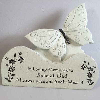 SPECIAL DAD - BUTTERFLY ON ROCK Grave Memorial Funeral Tribute Graveside Garden