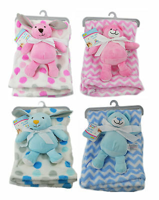 First Steps Super Soft Fleece Blanket Comfort Blanket Toy Baby 6m+ 30° Washable