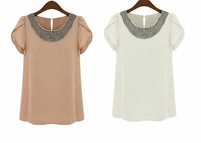 Ladies New Celebrity Style Chiffon Shirts Tops Beads Womens Pink White Blouse