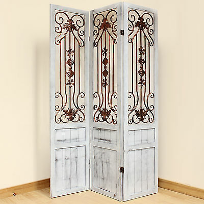 3 Panel Vintage/Rustic Whitewash Folding Room Divider Separator/Privacy Screen