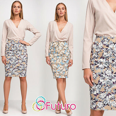 Ladies Elegant Pencil Skirt With Zipper Floral Pattern Sizes 8 - 14 FA440