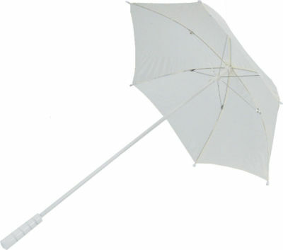 Morris Costumes New Wooden Handle Metal Frame Nylon Ivory Parasol. BB30IV