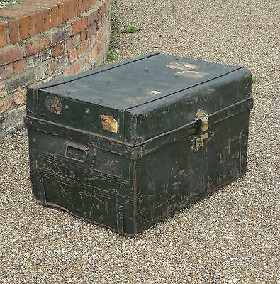 Antique Vntage Metal Old Steamer Trunk Storage Chest Coffee Table