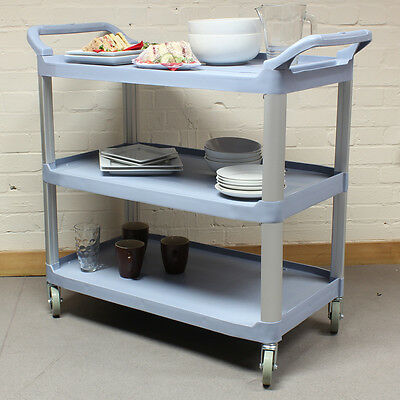 Grey Large 3 Tier Kitchen/Hostess Catering Trolley/Cart Tea/Drink/Dish Caddy