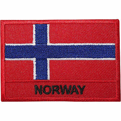 Norway Flag Embroidered Iron / Sew On Patch Norwegian Shirt Bag Embroidery Badge