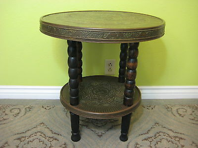 "Vintage Chinese 壽福 & Dragon, Phoenix Copper & Wood Round Side Table, 25"" Tall"