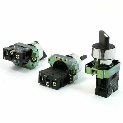 3 PCS N/O 2 Position SPST Self Locking Rotary Selector Switch Ith 10A Ui 600V