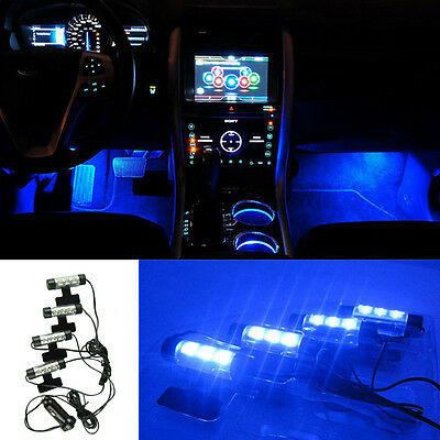 4x 3LED Auto Charge 12V Glow Interior Decorative 4in1 Atmosphere Blau Light Lamp