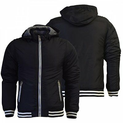 Haywire Boy's Youths Haywire Hooded Black Jacket Padded Bomber Fully Lined Zip