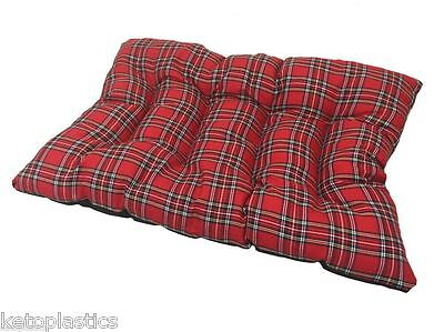 Brand New Rectangle Red Tartan Dog Cat Pet Floor Cushion Basket Pillow Fleece